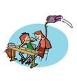 Boy and girl in school pranks vector image vector image