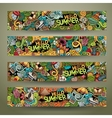 Cartoon doodles summer banners vector image vector image