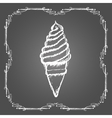 Chalk soft ice cream in cone and vintage frame vector image vector image