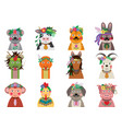 chinese zodiac animals with floral headpiece