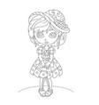cute cartoon little girl coloring book vector image