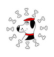 dog with bone isolated vector image