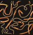 fashion seamless pattern with chains and belts vector image vector image