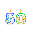 fifty years anniversary 50 number shaped birthday vector image