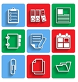 Flat Document Office Icons with Shadow vector image vector image