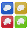 four square color icons two speech bubbles vector image