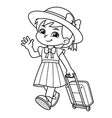girl traveling with her travel bag bw vector image vector image