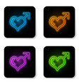 glowing neon male gender symbol and heart icon vector image vector image