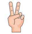 hand counting tow on fingers vector image vector image