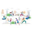 healthy lifestyle people scene flat set vector image vector image