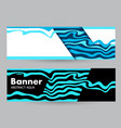 horizontal color banners with blue waves on dark vector image vector image