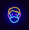 human head in medical mask neon sign vector image vector image