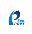 icon for sea port letter p wave vector image