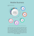 mobile business solution presentation with icons vector image vector image