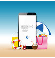 mobile phone with beach stuff vector image vector image