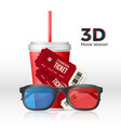 movie set - 3d glasses tickets and cup drink vector image
