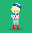 nautical boy blonde 03 vector image vector image
