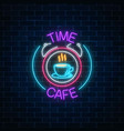 neon sign of time-cafe with coffee cup in clock vector image vector image