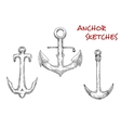 Old stock anchors sketch of sailing ships vector image vector image