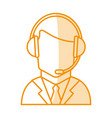 orange silhouette shading of faceless guy customer vector image vector image