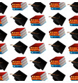 pile books with graduation hats pattern vector image