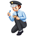 Policeman recording crime on the notepad vector image vector image