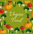 poster of vegetables or veggies vegan food vector image vector image