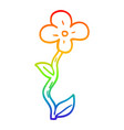 rainbow gradient line drawing cartoon flower pot vector image vector image