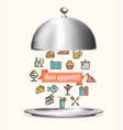 realistic 3d detailed metallic restaurant cloche vector image