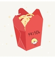 red open box with chinese food vector image vector image