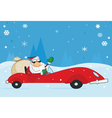 santa driving his car vector image vector image