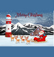 santa riding sleigh in nature vector image