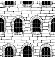 seamless brick wall with windows background vector image