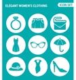 set of round icons white Elegant women s clothing vector image vector image