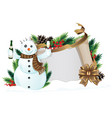 snowman with brown scarf vector image vector image