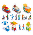 street food isometric icons vector image