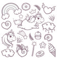 unicorn sweet set in cartoon sketch doodle style vector image
