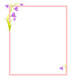 violet flowers in corners of empty frame vector image vector image