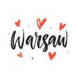 warsaw modern hand written brush lettering vector image vector image