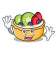 waving fruit tart character cartoon vector image vector image