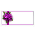 white christmas banner with lilac bow vector image vector image