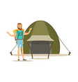 young bearded man traveler with a backpack vector image