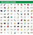 100 audio icons set cartoon style vector image
