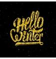 Hello winter gold glittering lettering design vector image