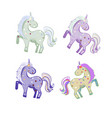 4 unicorns in pastel colors with hearts vector image vector image