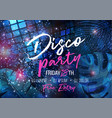 banner template with disco ball vector image