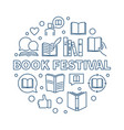 book festival concept round outline vector image