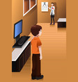 boy having his eyes checked at the doctor office vector image vector image