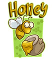 cartoon cute yellow bee with honey jar icon vector image vector image