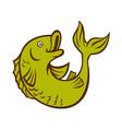 cartoon fish jumping side vector image vector image